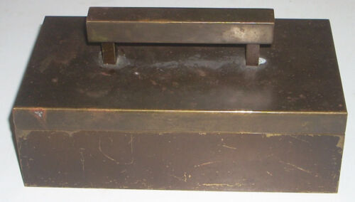 Vintage Brass Art Deco Patiniated Cedar Lined Box Cigarettes / Jewelry / Trinket