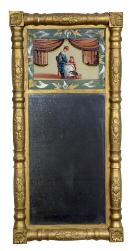 SWC-Gilt Empire Mirror with Reverse Painting, c. 1830