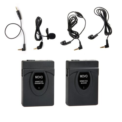 Movo WMIC50 2.4GHz Wireless Lavalier Microphone System for Camera ~ 164' Range