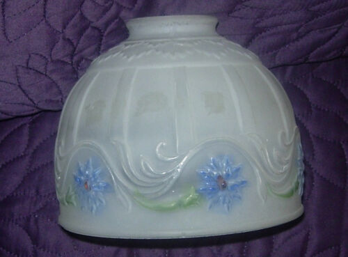 ART DECO  FROSTED LAMP SHADE  REVERSE PAINTED FLOWERS  FLAME DESIGN
