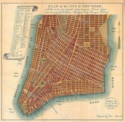 VINTAGE GIANT HISTORIC 1807 STREET ROAD MAP OF NEW YORK CITY NY HOME WALL DECOR