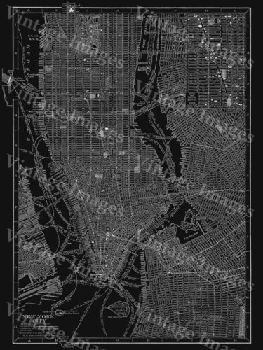 BLACK 1910 NEW YORK CITY STREET MAP ART PRINT POSTER