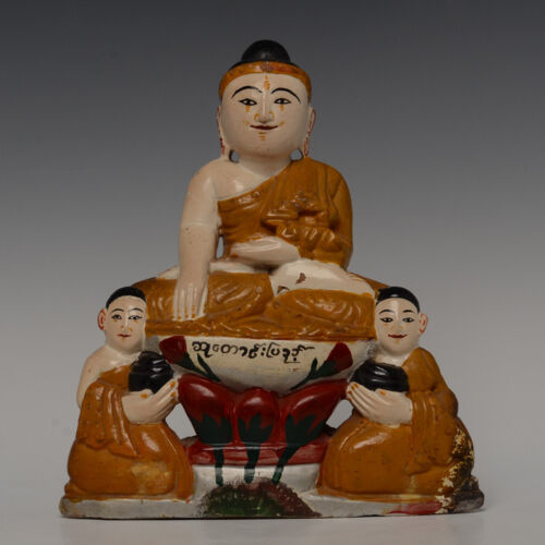Early 20th Century, Burmese Soapstone Seated Buddha and Disciples