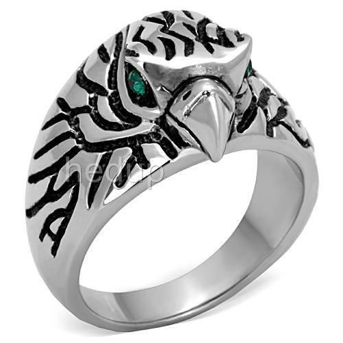 316 MENS EAGLE EMERALD RING WOW size 10 or T 1/2 other sizes available