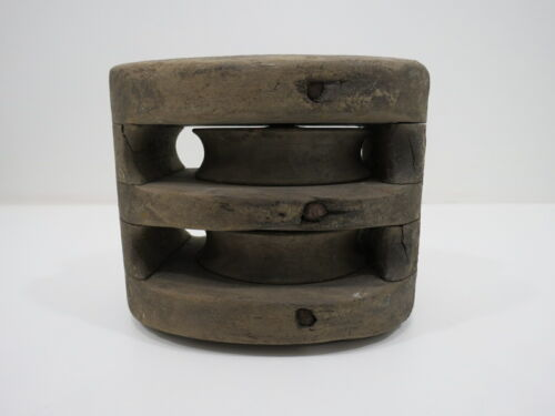 OLD 3 INCH ALL WOOD DOUBLE PULLEY SHIP SAIL BOAT (C4C84)