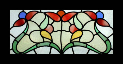 Stunning Art Nouveau Floral Antique English Stained Glass Window