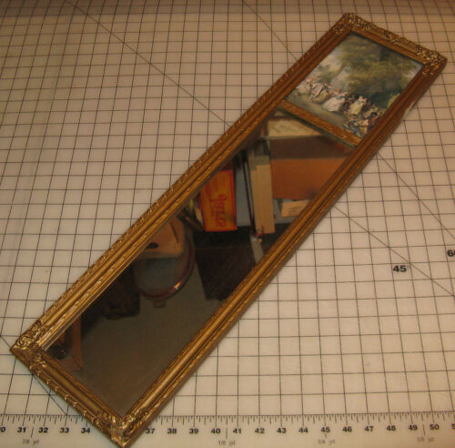 "Vintage Art Deco 8"" x 30"" WALL MIRROR with Print Insert Block - Beautiful!"