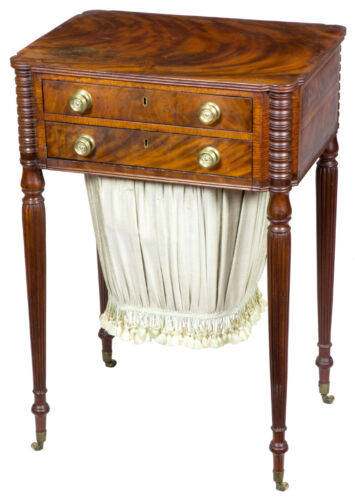 SWC-Federal Figured Mahogany Worktable attributed to Seymour, Boston, c.1820