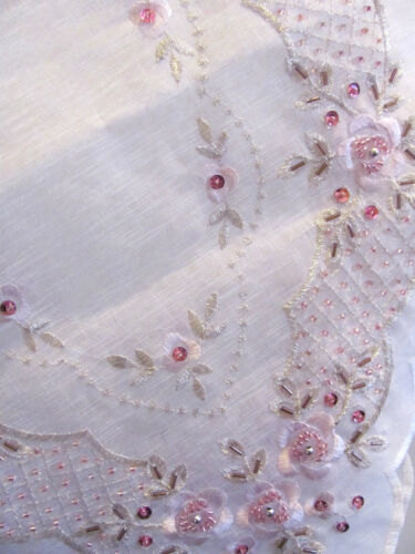 Elegant White & Pink Sequin & Hand Beaded  Embroidered Table Topper - 85cm