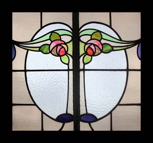 Splendid Rare Amazing Mackintosh Roses Antique Stained Glass Window