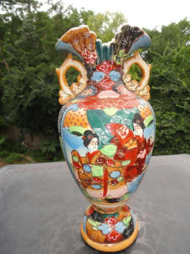 Antique Asian Earthenware Satsuma Vase Geisha Decoration - Japan China Korea ?