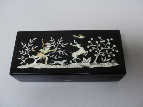 19TH C. ANTIQUE LACQUERED BOX, MOTHER-OF-PEARL INLAY, HUNTING SCENE (DEER & DOG)