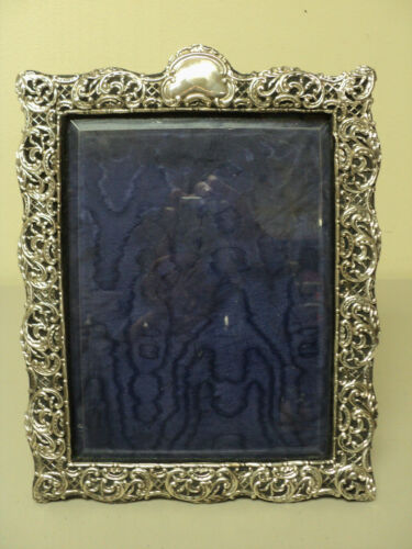 "LARGE ANTIQUE ENGLISH STERLING SILVER PICTURE FRAME 12.75"" x 10.25"" c. 1901"