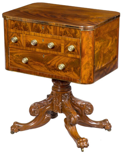 SWC-Neoclassical Mahogany and Brass Inlaid Worktable
