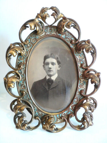 GORGEOUS 19th C. BRONZE EASEL BACK OVAL PICTURE FRAME with ENAMELED DECORATION