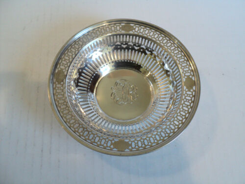 "VINTAGE ""WATSON"" STERLING SILVER PIERCED DECORATED 5.5"" CANDY DISH / BOWL"