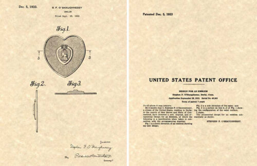 Purple Heart US Patent Art Print READY TO FRAME!!! 1933 Medal Pin Award ValorMedals & Ribbons - 4724