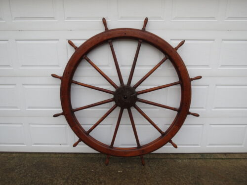 (#55) MASSIVE 72 INCH WOOD BOAT SHIPS WHEEL SAILBOAT DECOR