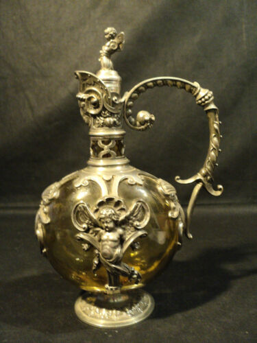 """RARE 19th C. GERMAN ART NOUVEAU """"WMF"""" PEWTER MOUNTED OLIVE GLASS DECANTER / JUG"""