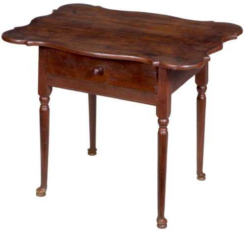 SWC-Porringer Top Queen Anne Side Table with Single Drawer, CT, c.1750-60