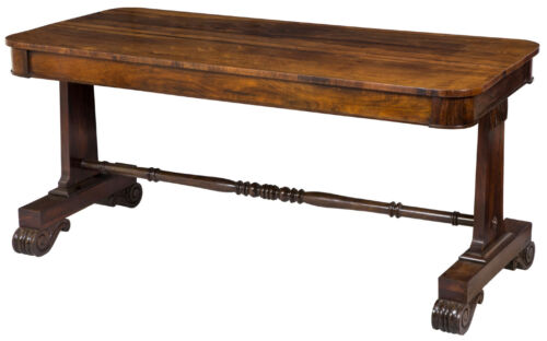 SWC-Large Classical / Regency Carved Rosewood Library Table, England, c.1830