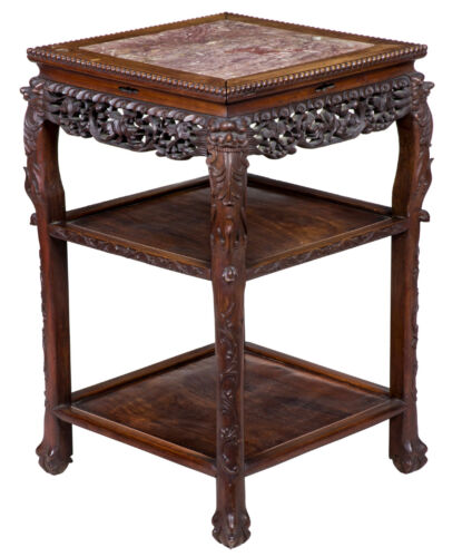 SWC-Magnificently Carved Square Marble Topped Stand, late 19th century, China