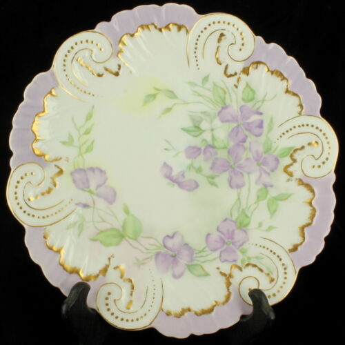 """ANTIQUE LIMOGES FRANCE HAND PAINTED SWEET PEAS CABINET PLATE 9.5"""" LAVENDER"""