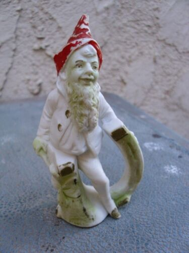 """Antique Bisque Gnome Elf Figurine on Horseshoe Good Luck Red Hat Germany? 3 3/4"""""""