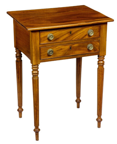 SWC-Federal Mahogany 2-Drawer Worktable with Tapered Reeded Legs, Phil., c.1800