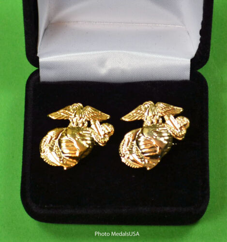 Marine Corps EGA Cuff Links in Gift Box -  USMC Eagle, Globe, and Anchor