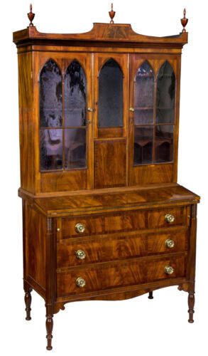 SWC-Inlaid Mahogany Federal/Hepplewhite Secretary, Boston, Seymour School, c1805