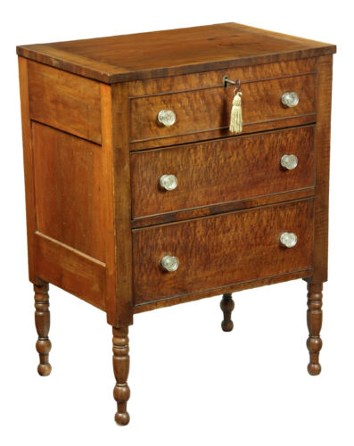 SWC- Cherry Sugar Chest with Figured Maple drawerfronts, Chester Co. PA c. 1840