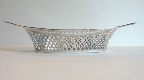 "ANTIQUE ENGLISH STERLING SILVER PIERCED DECORATED 13"" BREAD TRAY"