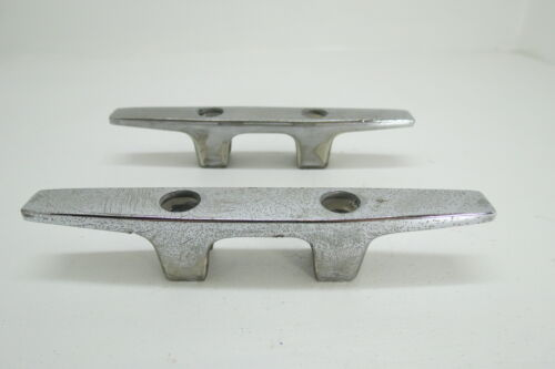 PAIR 6 INCH OLD CHROME BOAT DOCK CLEATS (D2A1142)