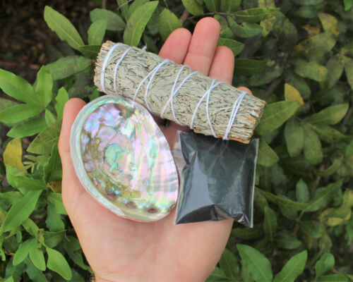 Sage Smudge Kit: White Sage Mini Abalone Shell Black Salt Smudging Directions