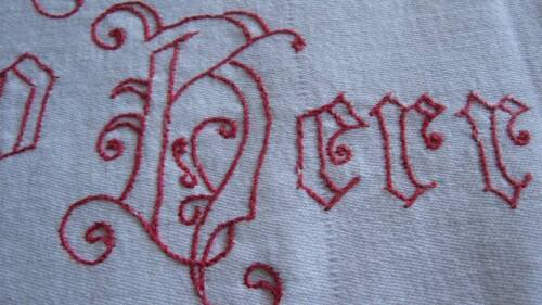 ANTIQUE ALTAR CLOTH-TURKEY RED WORK EMBROIDERY-German Words-Blue Lilies, Angels