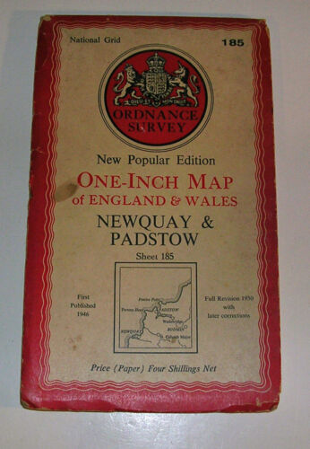 English Ordnance Survey Foldup Map Newquay & Padstow Cornwall 1930 1946