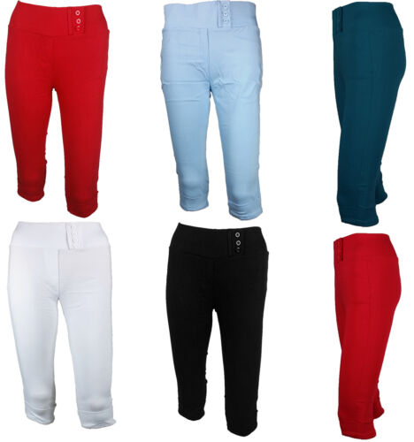 Ladies HIGH WAIST Crop 3/4 Skinny Fit Slim Trouser Stretch Pants Colour Leggings <br/> Sizes 8-16 Available | UK Seller | 3/4 Length |