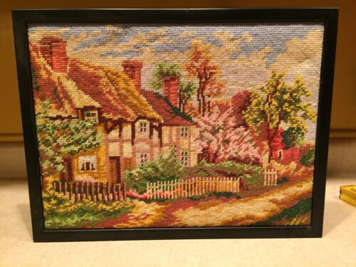 """Beautiful Needlepoint Embroidery Country Homes Scene Framed 13"""" X 17"""""""