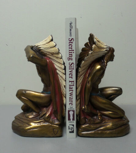 "GREAT PAIR AMERICAN ""ARMOR BRONZE"" NEW YORK ""INDIAN CHIEF"" FIGURAL BOOKENDS"
