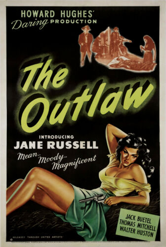 The Outlaw (1943) Jane Russell Howard Hughes cult western movie poster print