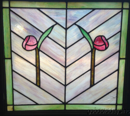 "Beautiful 2 Rose Stained leaded Glass Window 26"" by 25"""