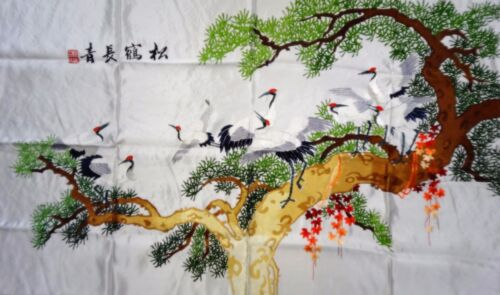 Handwoven Silk Chinese Embroidery - 8 Cranes (120 cm X 73 cm) #1