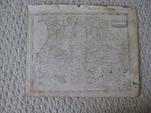ANTIQUE 1804 GERMANY SOUTH OF MAYN RIVER ARROWSMITH & LEWIS COPPERPLATE MAP RARE