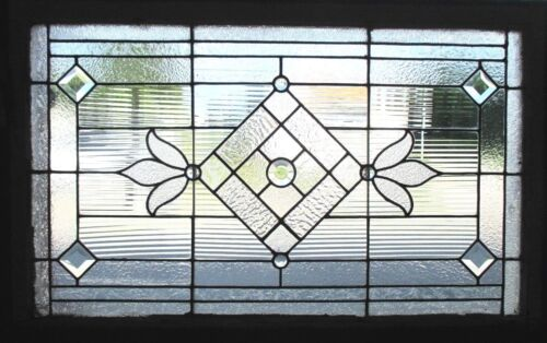 ~ ANTIQUE AMERICAN STAINED GLASS WINDOW JEWELS BEVELS 41 x 27 SALVAGE