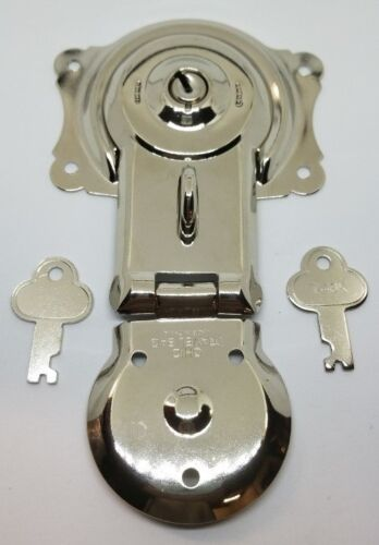 Trunk Lock with Keys - Nickel Plated  ANTIQUE TRUNK STEAMER OLD VINTAGE