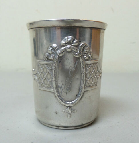 ANTIQUE GERMAN .800 SILVER EMBOSSED DECORATED & ENGRAVED BEAKER, 55 grams