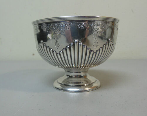 "19th C. English WALKER & HALL Sterling Silver 4"" Pedestal Bowl, c. 1896"