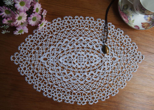 Exquisite Fine Yarn Hand Tatting Lace Cotton Doily Placemat Oval 27x42CM White