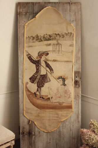 Antique painting painted linen hanging French chateau